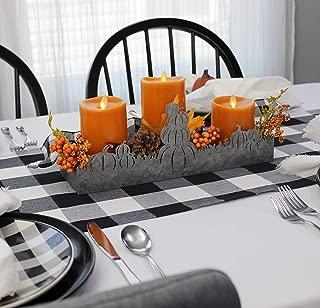 AuldHome Fall Decor Galvanized Tray, Field of Pumpkins Silhouette Farmhouse Decor Metal Tray 14 x 4 x 5 Inches