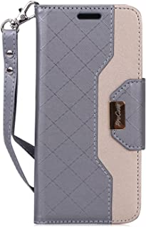 ProCase Galaxy S8 Wallet Case, Flip Kickstand Case with Card Slots Mirror Wristlet, Folding Stand Protective Cover for Galaxy S8 2017 -Grey