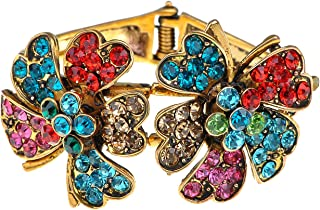 Alilang Antique Vintage Multicolor Rainbow Crystal Rhinestone Flower Garden Cuff Bracelet Bangle