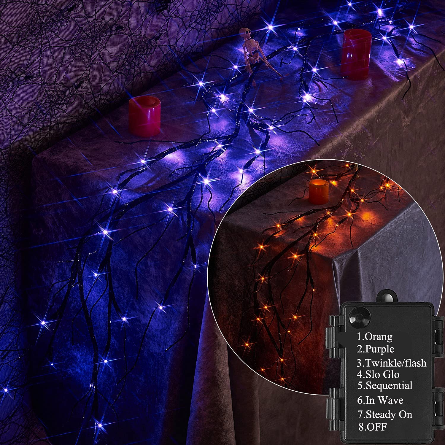 LITBLOOM Lighted Halloween Manufacturer OFFicial shop Garland with and Orange Large-scale sale Purple Bi- 48