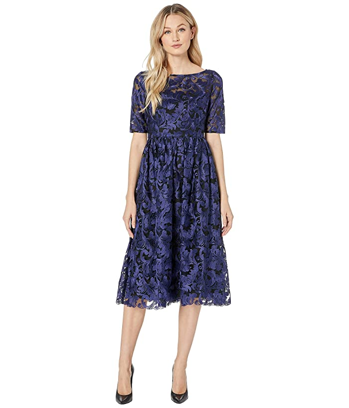 Adrianna Papell Embroidered Dress (Blue Violet) Women