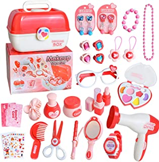 yoliyogo Pretend Play Makeup Toy Beauty Cosmetic and Jewellery Set Box Princess Hair Dressing Up Kit Vanity Case 30 Pcs Ed...