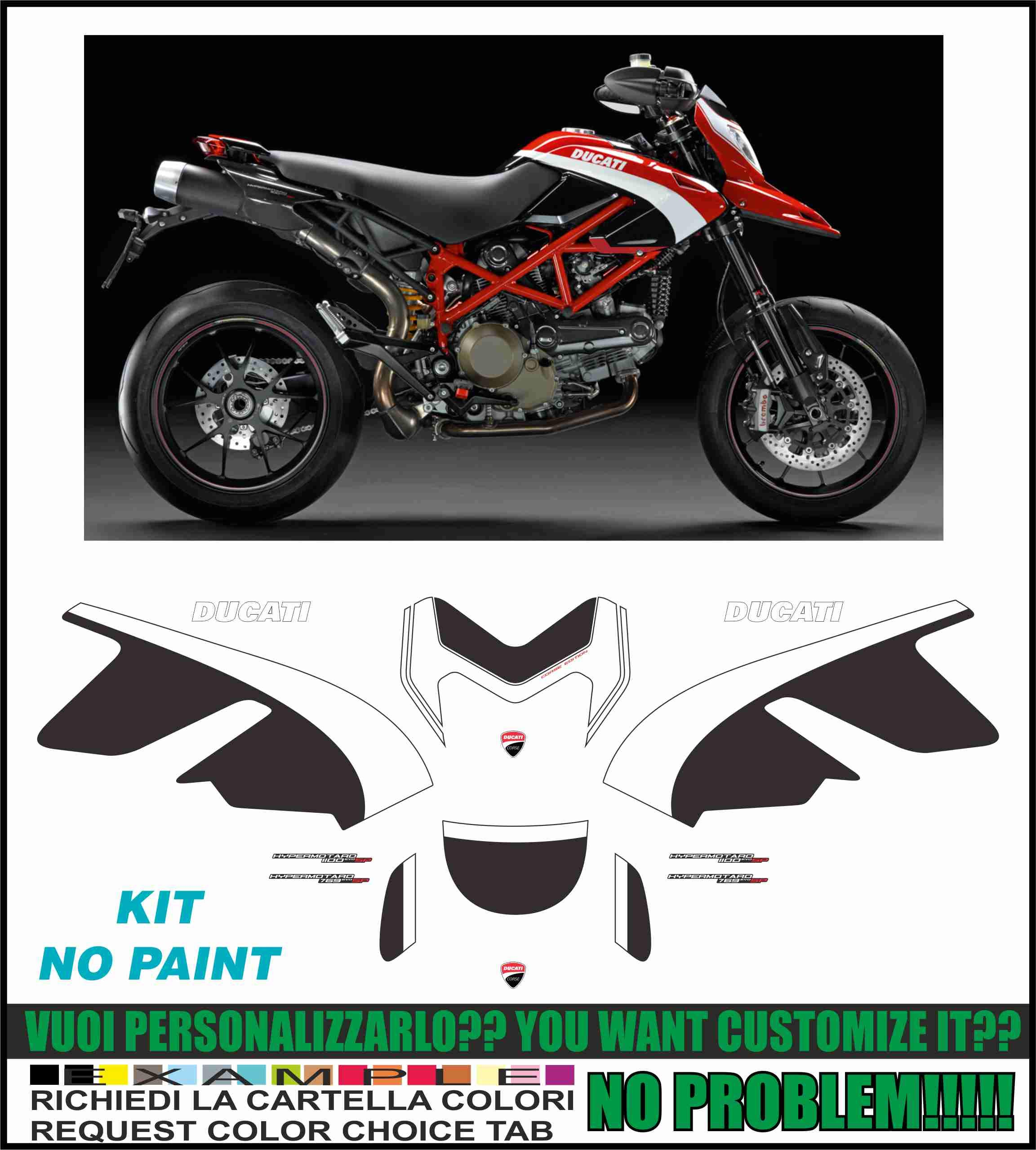 Kit adesivi Decal stikers Ducati Hypermotard 796 1100 EVO SP Corse NO Paint: Amazon.es: Coche y moto