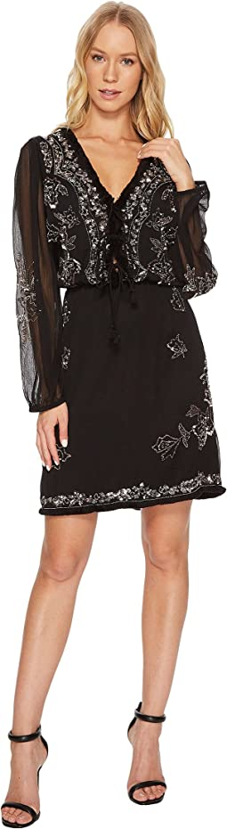Long Sleeve Beaded Dress w/ Fringe Trim