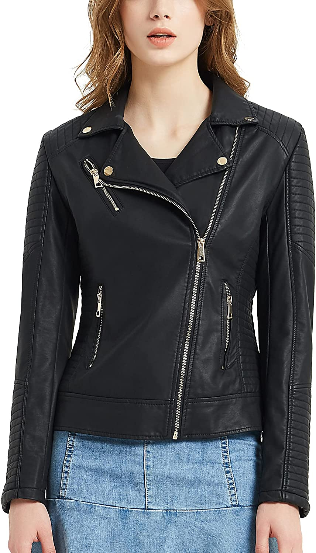 Pallivare Women's Faux Leather Jacket Zip Up Slim Fit Moto Biker Leather Jacket for Women Fall Winter
