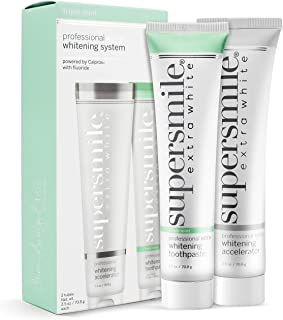 Supersmile Extra White Teeth Whitening System , Toothpaste & Accelerator , Clinically Proven to Remove Stains & Whiten Teeth Up to 8 Shades , Fluoride , No Sensitivity ,1 Month Supply