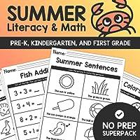 Summer Literacy & Math SUPER PACK – Pre K, Kindergarten, & First Grade –No Prep Common Core Activity Worksheets