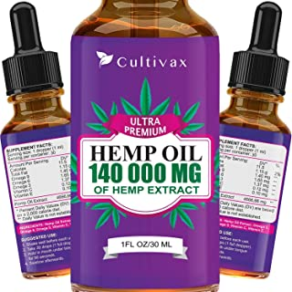 Hemp Oil 140 000mg for Pain Relief, Relaxation, Better Sleep, All Natural, Pure Extract, Vegan Friendly
