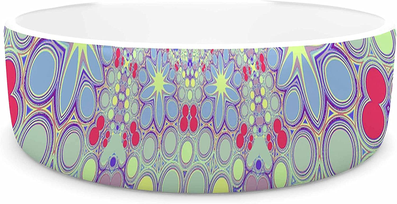 KESS InHouse Alison Coxon Hippy Flowers  Lavender Kaleidoscope Pet Bowl, 7
