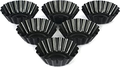 Whisq Brand 6 PC Deep Tart Tins Set with Non-Sticks Coating