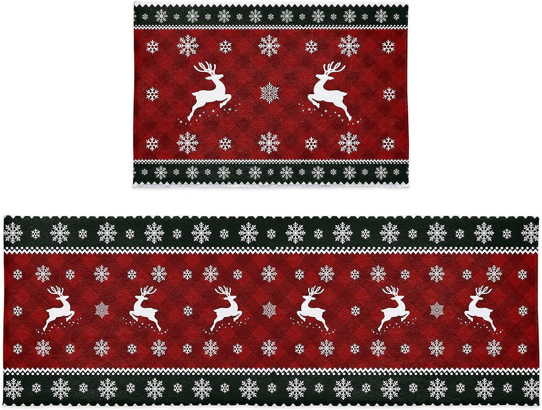 Kitchen Rug Sets 2 New cheap item Piece Christmas Plush Elk Reindeer Snowflake
