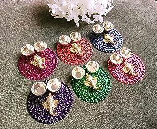 Itiha Set of 6 Multicoloured Ganesha Haldi Kumkum/Return Gift/Diwali Gift/Mehendi Gift- 3.5 inches