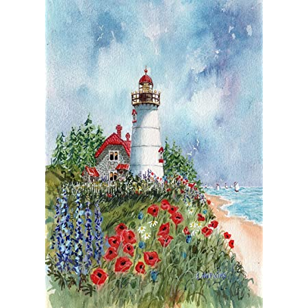 Toland Home Garden 1010063 Lighthouse Heron 28 X 40 Inch Decorative House Flag 28 X 40 Garden Outdoor