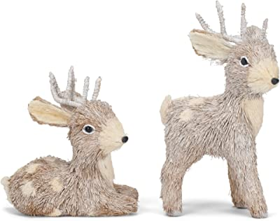 Glitzy Standing and Laying Reindeer 11.75 inch Textured Sisal Fiber Holiday Table Top Figurine Decoration Set of 2
