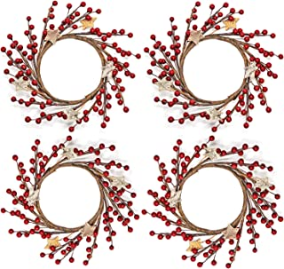WsCrofts 4Pcs Candle Rings - 3.5 Inch Christmas Red Pip Berry with Stars Small Wreaths