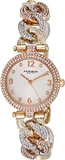"""Akribos XXIV Women's AK756""""Brillianaire"""" Crystal-Accented Silver-Tone Watch Crystal Accented Band"""