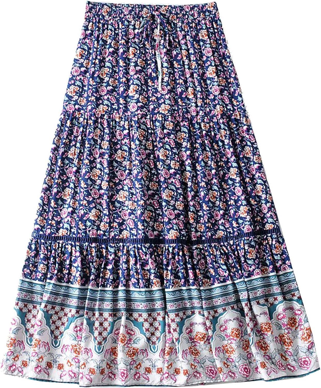 Women Maxi Skirt Bohemian Style Summer Hippie Gypsy Casual Beach Skirts