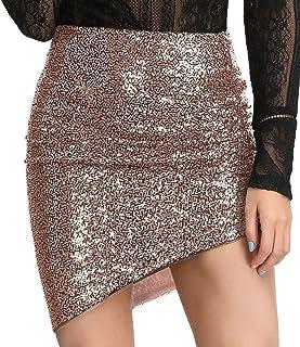 LIUMILAC Womens Ruched Sequin Asymmetrical Hem Club Pencil Mini Skirt