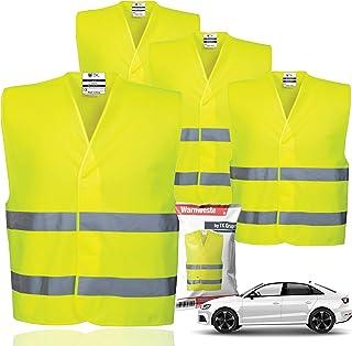 4x veiligheidsvesten EN471 - lekvest 2021 Ongevallenvest, personenauto, veiligheidsvest, neon geel reflecterend vest voor ...