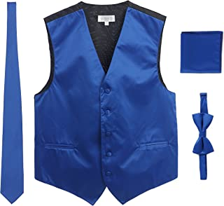 Gioberti Men's Formal 4pc Satin Vest Necktie Bowtie and Pocket Square