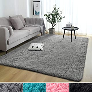 Rostyle Super Soft Fluffy Nursery Rug for Kids Teens Room Comfy Cute Floor Carpets Kids Playing Mat for Bedroom Living Room Home Decorate Area Rugs, 4 ft x 6 ft, Grey
