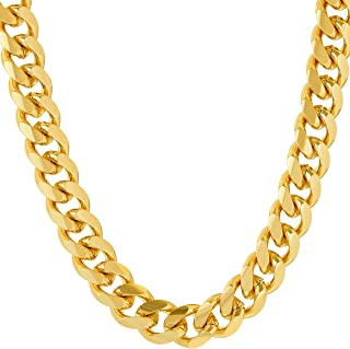 Necklace Chain [ 9mm Cuban Link Chain ] up to 20X More 24k Plating Than Other Gold Chains - Durable Necklaces for Men with Lifetime Replacement Guarantee 18 to 36 inches