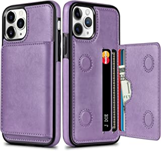 HianDier 3 in 1 Wallet Case for iPhone 11 Pro Max 6.5-inch Card Holder Case with Kickstand Slim Soft PU Leather Shockproof Folio Flip Protective Magnetic Closure Cover for iPhone 11 Pro Max, Purple