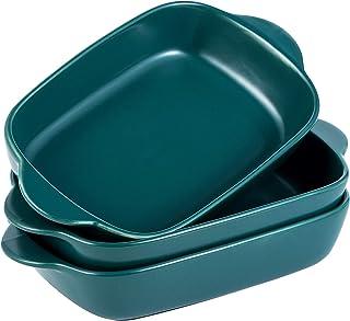 Jusalpha Matte Ceramic Baking Dish, Rectangle Pasta Lasagna Pan with Double Handles, Shallow Baking Pan/Dinner Plates, Set of 3, SYPL01 (Dark Turquoise Green)
