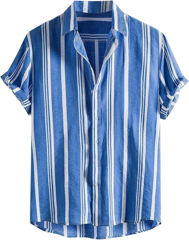 Relaxed Fit Hawaiian Shirt Men Aloha Beach Short Sleeve Summer Casual Printed Top Blouse Button Down