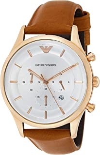 Emporio Armani Men's Japanese-Quartz Watch with Stainless-Steel Strap, Brown, 22 (Model: AR11043)