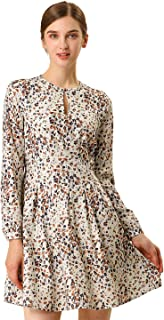 Allegra K Women's A-line Pleated Fit and Flared Leopard Dress