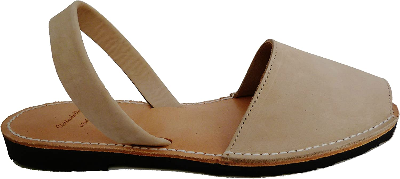 Authentic Menorcan Sandals, color Natural Nobuck, Avarcas Menorquínas Abarcas, Albarcas.