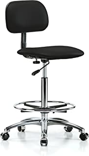 Perch Chrome Rolling Lab Chair with Adjustable Basic Backrest and Foot Ring for Carpet or Linoleum, Counter Height, Black Vinyl