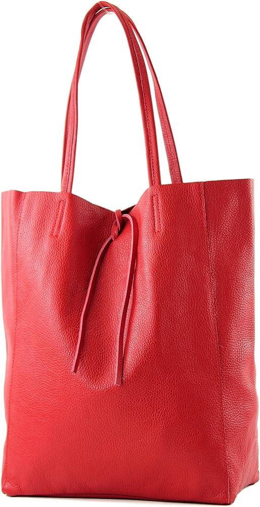Modamoda de, borsa in pelle, shopper per donna a spalla, rossa T163R