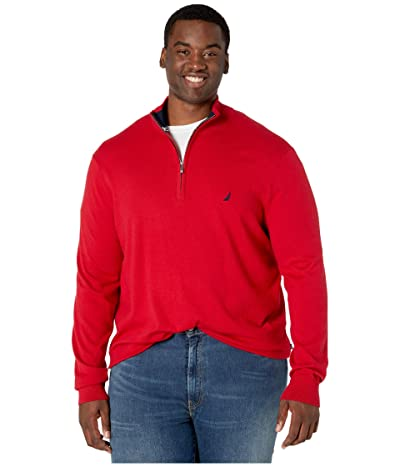Nautica Big & Tall Big Tall 1/4 Zip Navtech Mock Neck Sweater (Nautica Red) Men