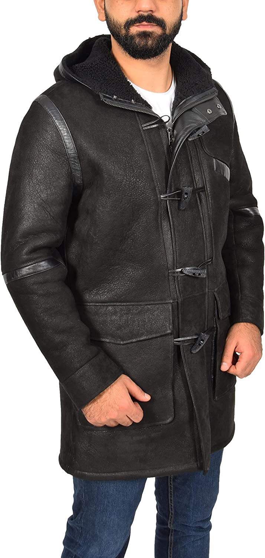 Mens Shearling Leather Duffel Sheepskin Coat with Hood Bain Black
