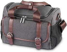 SmallRig Camera Shoulder Bag, Waterproof DSLR Camera Case with Genuine Leather Trim Metal Buckle Adjustable Dividers for SLR Cameras Canon, Nikon, Sony, Olympus, and Accessories Dark Grey - 2208