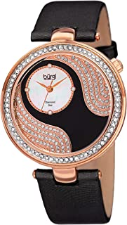 Burgi Unique Crystal Pave Design Women's Watch - Mother-of-Pearl and Sparkling Crystal Dial and Case on Genuine Leather Strap - BUR155