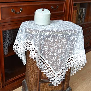 Merryfeel Tablecloth, Luxury Embroidery Lace Table Cloth Table Cover White 33 x 33 Inch