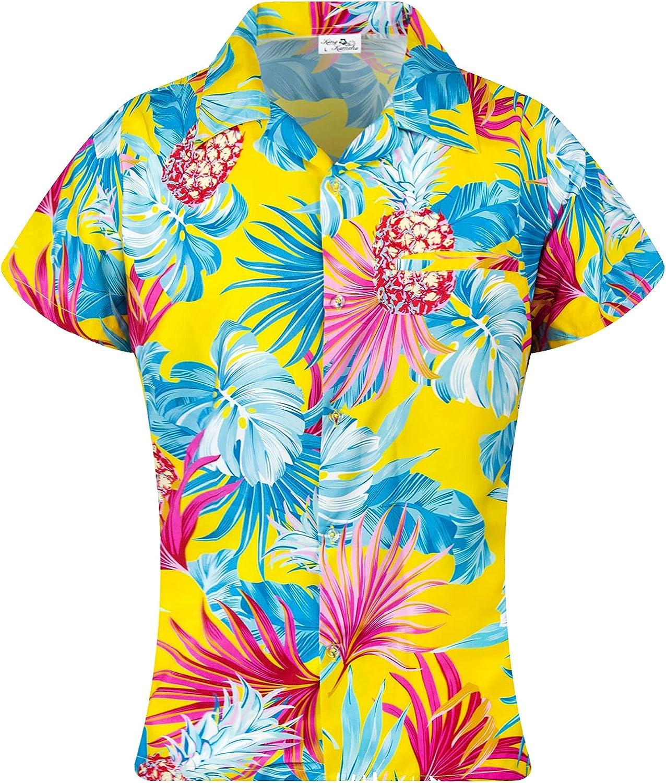 KING KAMEHA Funky Hawaiian Blouse Shirt, Shortsleeve, Print Pineapple Leaves, Yellow, M
