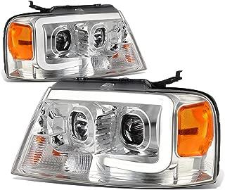 For 04-08 Ford F150 / 06-08 Lincoln Mark LT Chrome Housing Amber Corner 3D LED DRL Projector Headlight Lamp
