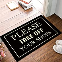LBDecor Entrance Door Mat, Funny Quotes Low Profile Decor Doormat, Please Take Off Your Shoes Non-Slip Carpet Rugs with Fe...