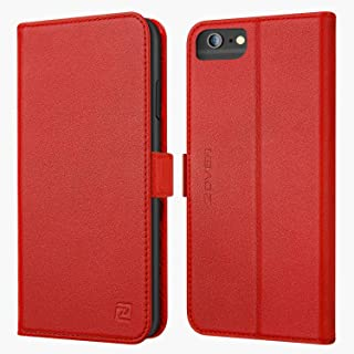 iPhone 8 Plus 7 Plus 6 Plus case ZOVER Genuine Leather Wallet Case with RFID Blocking Kickstand Feature Card Bison Fone Slots ID Holders and Magnetic Clasps Gift Box Red (Undetachable Version)