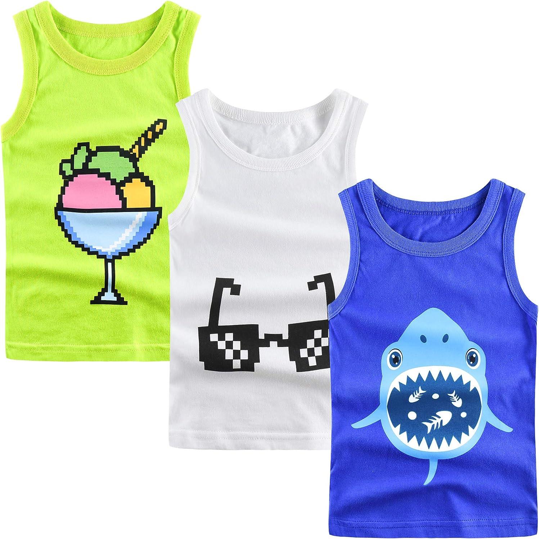 ZukoCert 3-Pack Toddler Boys Tank Tops Kids' Youth T-Shirt Cotton Kids Undershirt