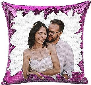 Kiko-ershaa Cojín Personalizado con Foto Lentejuelas Funda de Almohada Reversible mágica para decoración del hogar del sofá