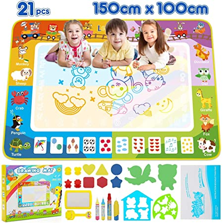 Moulds,Stamps Maxesla Water Doodle Mat Drawing Painting Mat Large Size 100x70cm with 3 Pens Mess-Free Learning Toys for Boys Girls Toddlers Birthday Chirstmas Gift