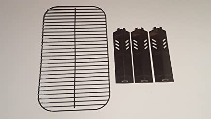 Set of Porcelain Steel Wire Cooking Grid Replacement and Three Heat Plates for Gas Grill Model Backyard Grill BY13-101-001-11