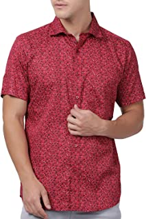 Zeal Half Sleeve Shirt for Men Cotton Casual Regular Fit Floral Printed Red