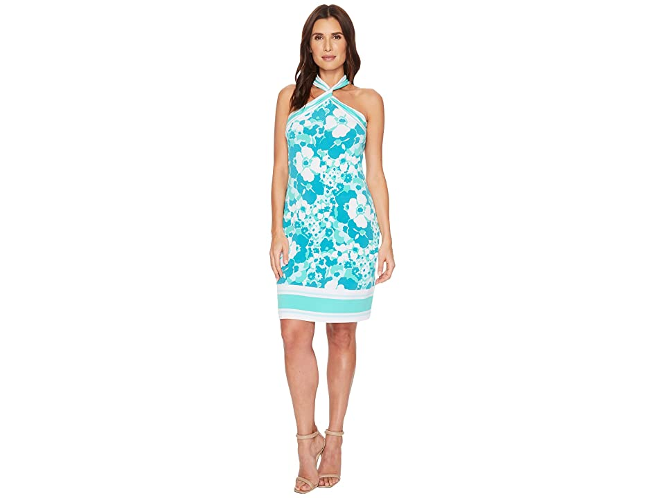 MICHAEL Michael Kors Spring Twist Neck Border Dress (Tile Blue/Light Seafoam) Women