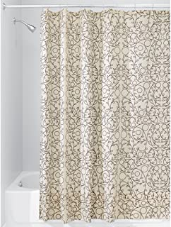 "iDesign Twigz Fabric Bathroom Shower Curtain - 72"" x 72"", Vanilla/Bronze"